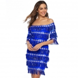 Blue Off-Shoulder Sequins Tassels Women Mini Dress