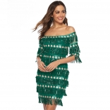 Green Off-Shoulder Sequins Tassels Women Mini Dress
