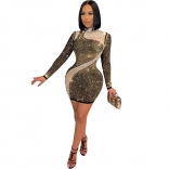 Golden Long Sleeve Mesh Rainstones Sexy Bodycon Dress