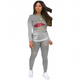 Grey Long Sleeve Printed Sexy Women Sports Dress