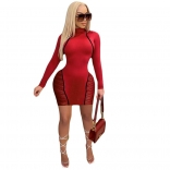 Red Long Sleeve Mesh Women Sexy Bodycon Club Dress