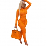 Orange Long Sleeve Hollow-out Sexy Women Jumpsuit