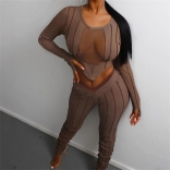 Brown Long Sleeve Mesh V-Neck Women Sexy Jumpsuit