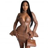 Khaki Leather V-Neck Zipper Sexy Mini Dress With Belt