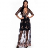 Black Long Sleeve V-Neck Sequins Mesh Women Maxi Dress