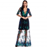 Green Long Sleeve V-Neck Sequins Mesh Women Maxi Dress