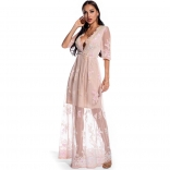 Pink Long Sleeve V-Neck Sequins Mesh Women Maxi Dress