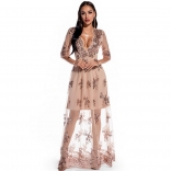 Golden Long Sleeve V-Neck Sequins Mesh Women Maxi Dress