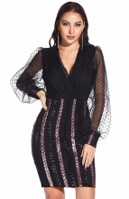 Black V-Neck Women Sequins Bodycons Dress