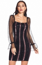 Black V-Neck Low-Cut Sequins Bodycons Dress