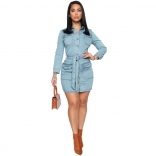 LightBlue Long Sleeve Women Jeans Fashion Skirt