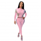 Pink Long Sleeve Zipper Women Fashion Sports Dress