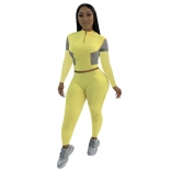 Yellow Long Sleeve Zipper Women Fashion Sports Dress