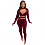 Red Long Sleeve Low-Cut 2PCS Women Sexy Jumpsuit