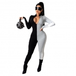 Black Gray Long Sleeve Bodycons Women Sexy Jumpsuit