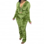 Green Long Sleeve Zipper 2PCS Velvet Women Jumpsuit