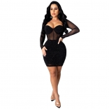 Black Long Sleeve Mesh Rainstones Bodycons Mini Dress