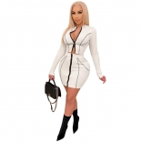 White Long Sleeve Zipper Low-Cut 2PCS Bodycons Mini Dress