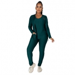 Green Long Sleeve 3PCS Halter Vest Women YOGA Sports Dress