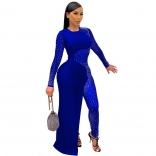 Blue Long Sleeve O-Neck Mesh Rainstones Evening Dress
