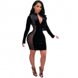 Black Long Sleeve V-Neck Mesh Bodycon Dress
