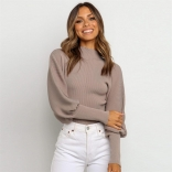 Khaki Long Sleeve O-Neck Sweater Club Tops
