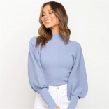 Blue Long Sleeve O-Neck Sweater Club Tops