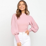 Pink Long Sleeve O-Neck Sweater Club Tops