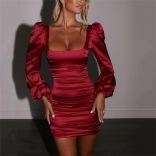 Red Long Sleeve Low-Cut Bodycons Women Mini Dress