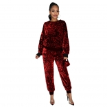 Red Long Sleeve O-Neck Sequins 2PCS Jumpsuit with Mask