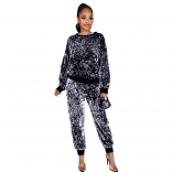 Silver Long Sleeve O-Neck Sequins 2PCS Jumpsuit with Mask
