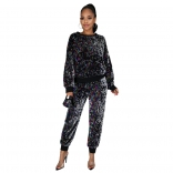 Colors Long Sleeve O-Neck Sequins 2PCS Jumpsuit with Mask