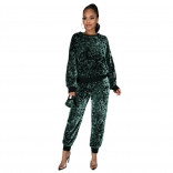 Green Long Sleeve O-Neck Sequins 2PCS Jumpsuit with Mask