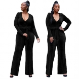 Black Long Sleeve V-Neck Silk Women Fashion Jumpsuit
