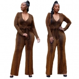 Golden Long Sleeve V-Neck Silk Women Fashion Jumpsuit