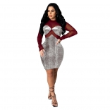 Red Mesh Long Sleeve Gild Bodycons Mini Dress