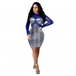 Blue Mesh Long Sleeve Gild Bodycons Mini Dress
