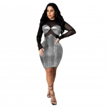 Black Mesh Long Sleeve Gild Bodycons Mini Dress