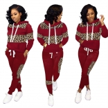 Red Long Sleeve Printed 2PCS Women Catsuit Dress With Hat