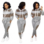 Gray Long Sleeve Printed 2PCS Women Catsuit Dress With Hat