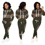 Green Long Sleeve Printed 2PCS Women Catsuit Dress With Hat