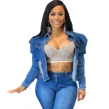 Blue Long Sleeve Jeans Rainstones Club Tops