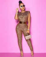 Golden Sleeveless Sequins Bodycons Sexy Jumpsuit