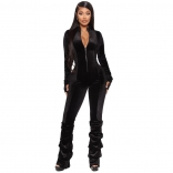 Black Long Sleeve Zipper Velvet Bodycons Sexy Jumpsuit Dress
