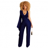 Blue One-Sleeve V-Neck Halter Silk Women Jumpsuit