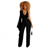 Black One-Sleeve V-Neck Halter Silk Women Jumpsuit