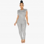 Silver Sleeveless Sequins Bodycons Sexy Jumpsuit