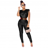 Black Sleeveless Sequins Bodycons Sexy Jumpsuit