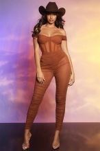 Khaki Sleeveless Low-Cut V-Neck 2PCS Mesh Sexy Jumpsuit