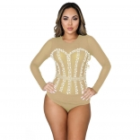 Beige Long Sleeve O-Neck Mesh Pearls Women Tops